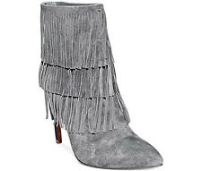 Womens Ladies New Suede Ankle Boots Fringes High Heel Side Zip Shoes Sizes 3-7