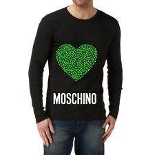 Black Men Modern New T-shirt Tee Long Sleeves Blouse Green Heart Love Moschino