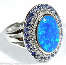 Tanzanite & Blue Fire Opal Inlay Solid 925 Sterling Silver Ring Size 6 - 6.75