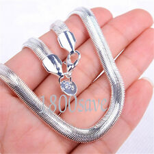 18K White Gold Plated GP 16/18/20/22/24 Inch 6MM Wide Snake Chain Necklace Z788