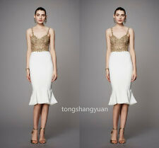 Ruffles White Evening Dresses Chiffon Formal Party Bridesmaid Gowns Sleeveless