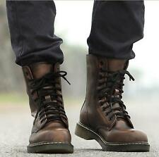 Mens Retro Military Lace Up Flat Oxfords Ankle Riding Boots Shoes Punk Bliker Sz