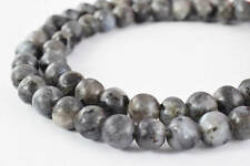 Matte Black Larvikite Labradorite Gemstone Round Beads 6mm Natural Stone Beads