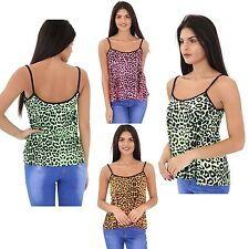 Women Ladies Neon Animal Leopard Printed Cami Vest Camisole Strappy Flared Top
