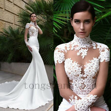 Long Sleeve Wedding Dresses For Bride High Collar Bridal Gowns Size 2 4 6 8 10 +