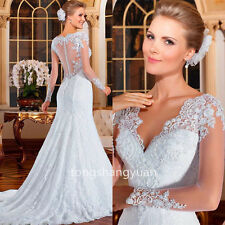 Elegant Wedding Dresses V Neck Lace Bridal Gowns 2017 Custom White Ivory Mermaid