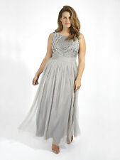 Lovedrobe Luxe Womes Plus Size Sequin Embellished Maxi Tulle Dress In Grey