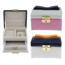 Cute Bowknot 2 Layer PU Leather Velvet Jewelry Box Portable Travel Case Lockable