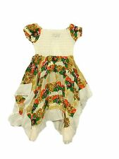 NEW GIRLS SUMMER FLORAL DRESS CREAM SIZE  4, 6, 8, 10 & 12 YEARS