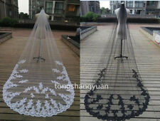 Black Ivory White 1 T Bridal Wedding Veils Cathedral  + Comb 2017 Lace Applique