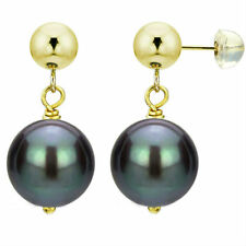 DaVonna 14k Yellow Gold Black Cultured Pearl Dangle Earring (8-12 mm)