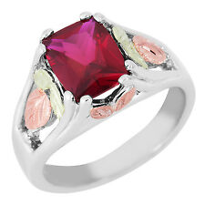 Black Hills Gold birthstone ring womens synthetic whl/half size 5 6 7 8 9 silver