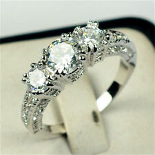 Size 6-9 White Sapphire Silver Wedding Ring 10KT White Gold Filled Jewelry New E