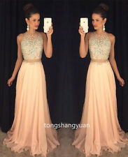 Halter Crystal Long Bridesmaid Formal Ball Gown Party Wedding Evening Dress 2017