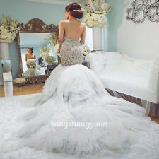 Strapless Lace Wedding Dress Long Trumpet Bridal Gown Custom Size 4 6 8 10 12++