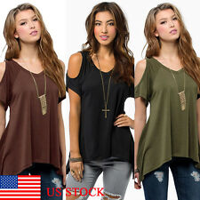 Women Off Shoulder Short Sleeve Irregular Casual Holiday Top Blouse Vest T-shirt