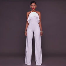 Women Sexy Backless Halter Neck Sleeveless Solid Wide Leg Pants Jumpsuit Romper