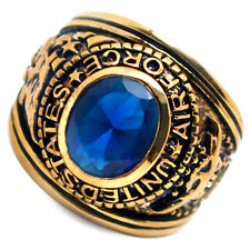 Accents Kingdom Men's Gold Plated US Air Force Military Ring Blue Montana CZ