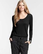 NWT Ann Taylor Long Sleeve Scoop Neck Tee Top  Black  NEW
