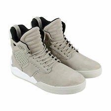 Supra Skytop IV Mens Beige Suede High Top Lace Up Trainers Shoes