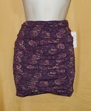 Free People eggplant floral women's ruched stretch skirt strapless top XS $58