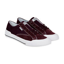 HUF Classic Lo Ess Mens Burgundy Canvas Lace Up Lace Up Sneakers Shoes