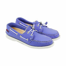 Sebago Docksides Womens Blue Leather Casual Dress Lace Up Boat Shoes Shoes
