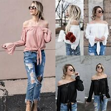 Sexy Women Casual Boat Neck Flare Long Sleeve T-shirt Loose Top Summer Gear