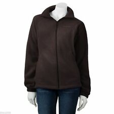 Columbia Zip Front-Embroidered Brown Fleece Jacket  size Small Women's