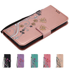 Luxury Butterfly Flower Leather Flip Card Wallet Cover Case For Samsung Galaxy