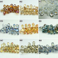 50/100pcs Plating Mixed Synthetic Crystal Drip Shape Faceted Loose Beads 6X12mm