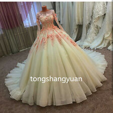 Lace Applique Wedding Dress White Ivory Bridal Ball Gowns Custom 2017 Long Train