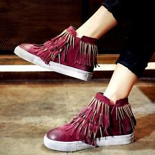 Womens Retro Fringe Tassels Metal Decor Flats Casual Shoes Sneakers Size Chic996