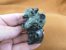 Y-GRI-712 Green black GRIFFIN gryphon gemstone carving figure statue Eagle Lion