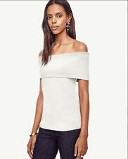 NWT Ann Taylor Sleeveless Off The Shoulder Sweater Top  $89.50 Winter White  NEW
