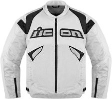 Mens Icon Sanctuary White Leather Textile Armored motorcycle jacket S-2X