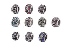 10PCS Mixed Colors Rhinestone Charm Beads Fit European Bracelet #91862