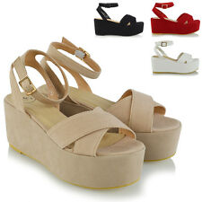 WOMENS ANKLE STRAP WEDGE HEELS LADIES PLATFORMS STRAPPY SANDALS PARTY SHOES SIZE