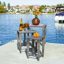 Wicker Side Table Patio Furniture 3 Piece Nested Outdoor Set Black Brown Grey