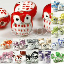 10pcs Colorful Handmade Porcelain Owl Spacer Loose Beads Wholesale 17x15mm