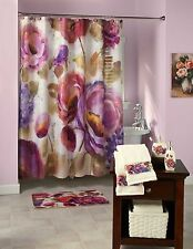 Watercolor Floral Bathroom Collection Shower Curtain & Hooks Rug Soap Dispenser