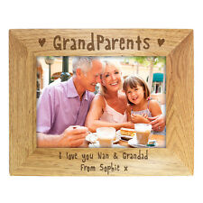 PERSONALISED GRANDPARENTS WOODEN PHOTO FRAME 2 SIZES 5x7 10x8 CHRISTENING BIRTH