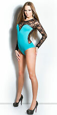 New Womens Neck Lace Open Back Strappy Plunge Stretch Bodysuit Top Women Long