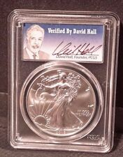 2016 $1 Silver Eagle DAVID HALL Signed PCGS MS70 30th Anniv Low Pop 693 *spotted