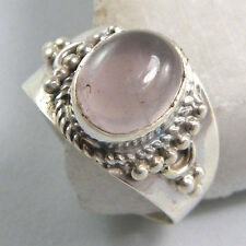 ROSE QUARTZ SOLID 925 PURE STERLING SILVER HANDMADE RING CUSTOM SIZE 5,6,7,8,9