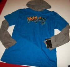 NEW HURLEY long sleeve hoodie shirt boys youth Large  L 14 16 XL 18 20 gray blue