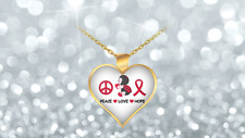 Peace Love Hope Red Ladybug Awareness Heart Shaped Necklace