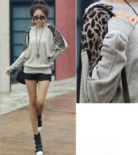 Fashion  Women Leopard Batwing Long Sleeve Blouses Pullover Tops T Shirt