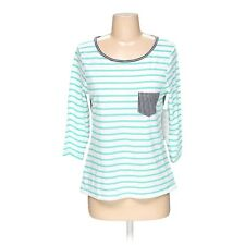 Striped Green White Crew Neck Knit Top 3/4 Sleeve ColorBlock Cotton Blend Blouse