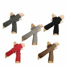1 pair Women Knitted Crochet Long gloves Fingerless Warmer Braided Arm Gloves